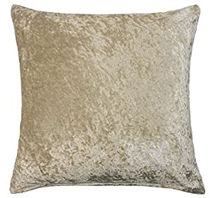 "2 X SOFT CRUSHED VELVET CHAMPAGNE CREAM 18"" - 45CM CUSHION COVERS PILLOW CASE SHAMS"