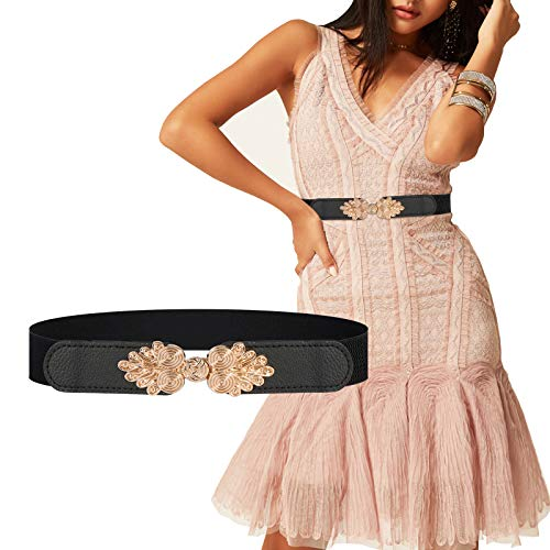 FSFTTRAD Women Golden Buckel Elastic Embellished Leaf helix Waist Belt