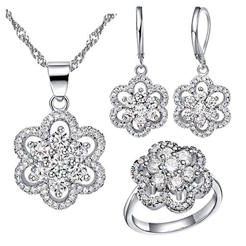 - Uloveido Rhodium Plated Flower Shape Wedding Jewelry Set for Women Girl, Choker Bridal Necklace CZ Drop Earrings and Engagement Ring T490 (White, Size 9)