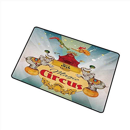 Non-Slip Door mat Circus Magic Circus Tent Show Announcement Vintage Style Aerialist Acrobat Performance W16 xL20 Antifouling