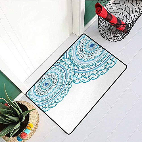 Invitations Grape Wedding - Gloria Johnson Mandala Inlet Outdoor Door mat Wedding Invitation Card Theme Lace Mandala and Place for Text Art Print Catch dust Snow and mud W31.5 x L47.2 Inch Sky Blue Light Blue