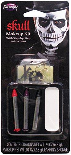 Skeleton Makeup Kit (Fun World Skeleton Skull 6pc One Size Makeup Kit, White Black Red)