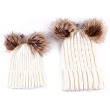 oenbopo 2PCS Parent-Child Hat Winter Warmer,Mother & Baby Family Match Knit Hat Cap