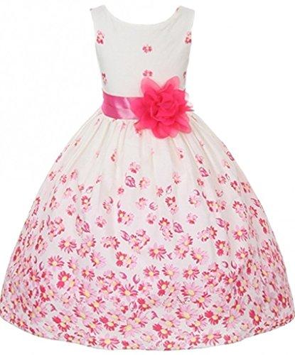 BNY Corner Flower Girl Dress Tea Length Pattern Spring Collection For Little Girl Fuchsia 4 KD.324