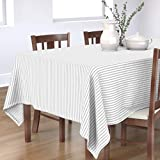 Roostery Tablecloth, Grey Stripes Classic Pinstripe Minimalist Simple Farmhouse White Ticking Stripe Print, Cotton Sateen Tablecloth, 70in x 90in
