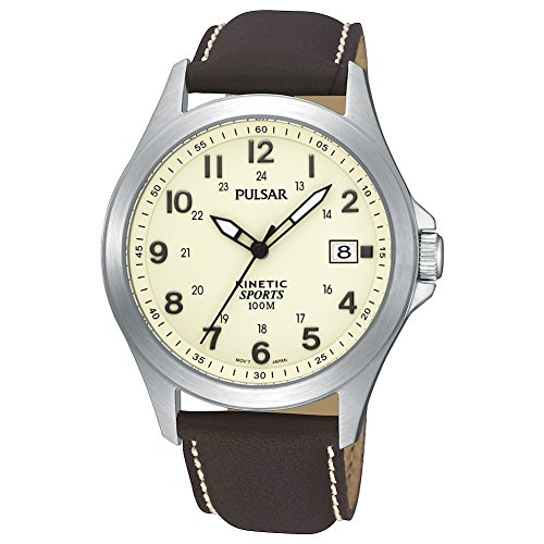 (Pulsar Men's Kinetic Cream Dial Brown Strap Watch PAR167X1)