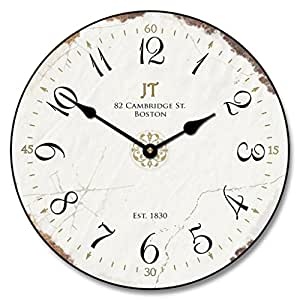 Vintage White Wall Clock, Available in 8 Sizes, Most Sizes Ship 2-3 Days, Whisper Quiet.