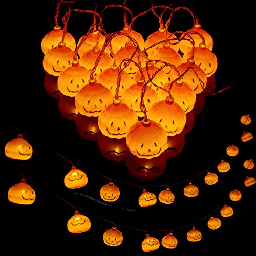 Sammious Halloween Pumpkin Lights Lanterns, Halloween Decorations Solar String Lights, 20 LED 3M Pumpkin Lights Halloween Pumpkin Lights Decor Indoor Outdoor Party Ideas,