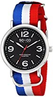 """SO&CO York Men's 5002.3 """"SoHo"""" Stainless Steel Watch With Multi-Color Nylon Band from SO&CO MFG"""