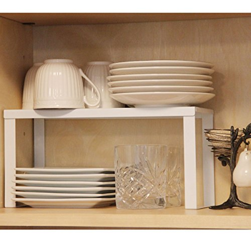 1 white metal kitchen cabinet and counter top organizer for Kitchen cabinets 14 inches deep