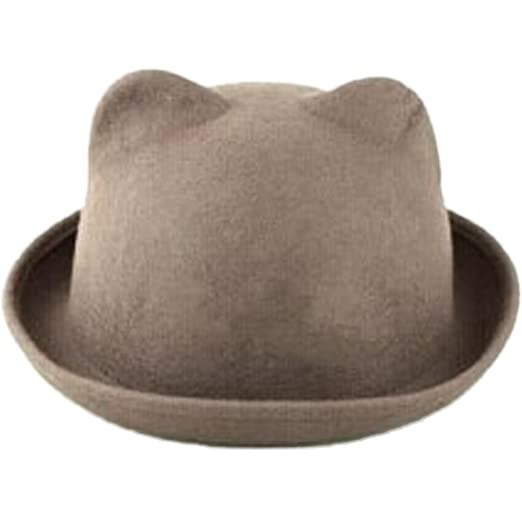 4388632a721 eYourlife2012 Women s Candy Color Wool Rool Up Bowler Derby Cap Cat Ear Hat  (Biege)