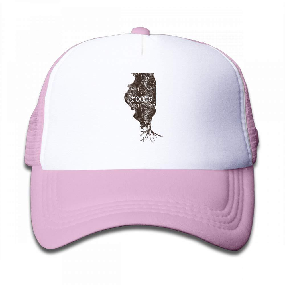 NO4LRM Kid's Boys Girls Illinois Map Roots Youth Mesh Baseball Cap Summer Adjustable Trucker Hat