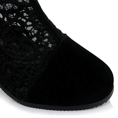 BalaMasa Womens Boots Closed-Toe Zip Kitten-Heels Plaid Urethane Boots ASL04614 Black 8Rc7mNC4