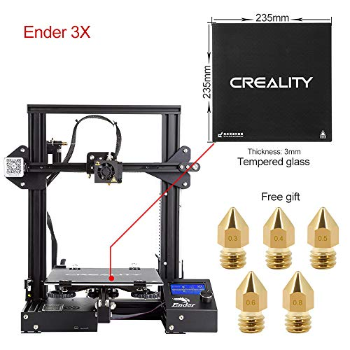 "Comgrow Creality 3D Ender 3X 3D Printer with Tempered Glass Plate and Five Free Nozzle Build Volume 8.6"" x 8.6"" x 9.8"""