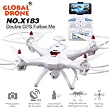 Ruhiku GW Brushless Motors Quadcopter RC Drone-Global Drone X183 5.8GHz 6-Axis Gyro WiFi FPV 1080P Camera GPS (Dual-GPS Follow Me) Brushless Quadcopter (Dual-GPS-White)