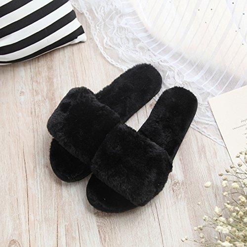 Fankou fondo piatto pantofole di cotone femmina esterno inverno indossare pantofole home incantevole autunno inverno spesso maglione anti-slittamento ,35-36, rosa