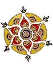 Designer Diya Rangoli/Floor Acrylic Rangoli/Home Decor/Gift for Home/Floor Decor Decorations/Indian Festival Wedding Party Decoration/Gift Return Gifts Small. (Rangoli)
