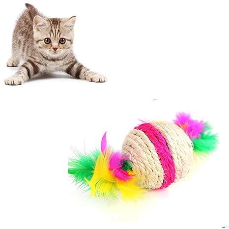 Ogquaton Gatos Juguetes, Encantadora Cuerda de sisal Pluma Bola Teaser Scratch Chew Play Toy para Mascotas Gatos Gatito, 1 pcs