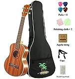 MELODIC Spruce Soprano Mahogany Ukulele 21 inch Ukulele Set With Gig Bag, Capo, Polishing Cloths, Decals Fingerboard, Strings (Soprano)