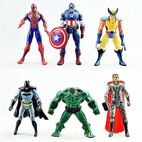 Brand New 6Pcs The Avengers Hulk Wolverine Batman Action Figure Xmas Gift Toy