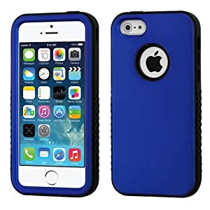 MyBat Hybrid Protector Cover for Apple iPhone 5S/5 - Retail Packaging - Titanium Dark Blue/Black Verge