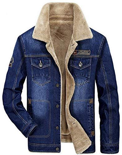 Uomo Calda 1 blau Invernale Pelliccia Plus Denim Da Velluto Con Trench Classica Abbigliamento Parka Pesante In Giacca qOTEAE