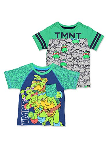 TMNT Teenage Mutant Ninja Turtles Toddler Boy's 2 Pack Short Sleeve T-Shirt Set (3T, Green/Multi) (Turtle Outfit)