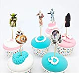 Star Wars Theme Cartoon Cupcake toppers and picks 24pcs, Baby Shower Birthday Party Favors for Kids & Adults Cake Accessory Decoration Supplies, Serve 24