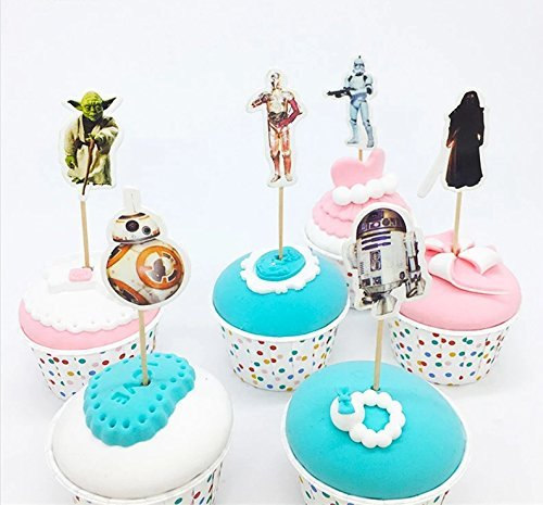 Star Wars Theme Cartoon Cupcake toppers and picks 24pcs, Baby Shower Birthday Party Favors for Kids & Adults Cake Accessory Decoration Supplies, Serve 24 by Topstuffsz
