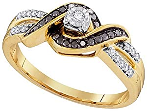 Size - 5.5 - Solid 10k White and Yellow Two Toned Gold Round White And Black Diamond Engagement Ring OR Fashion Band Prong Set Solitaire Shaped CrossOver Ring (1/5 cttw)
