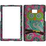 2D Owl & Paisley LG Optimus Logic / Dynamic L38c / L35g (Straight Talk / Net 10) Case Cover Phone Snap on Cover Case Protector Faceplates