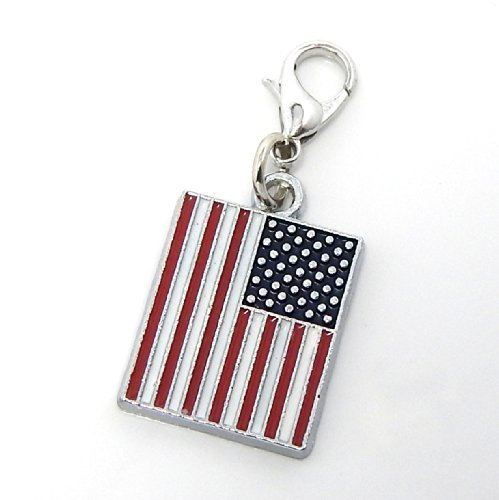 """Jewelry Monster Clip-on """"Dangling Enamel Painted American Flag"""" Charm"""