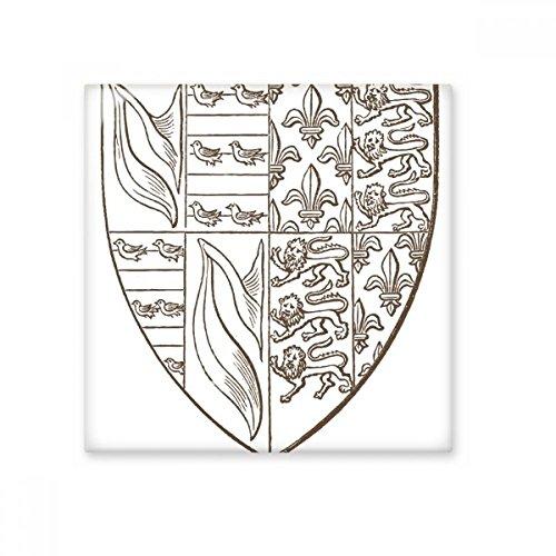 Black White Baroque Art Shield Lion Bird Illustration Pattern Ceramic Bisque Tiles for Decorating Bathroom Decor Kitchen Ceramic Tiles Wall Tiles ()