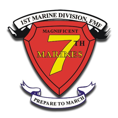 (US Marine 1st Marine Division 7th Marine Regiment AKA RCT-7 Decal Sticker 3.8