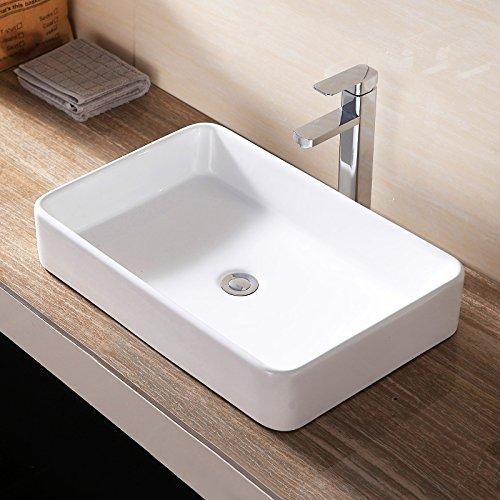 Ceramic Vessel Sink Bowl - Mecor Bathroom Rectangle Sink Bowl Vessel Basin w/Pop Up Drain White Porcelain Ceramic