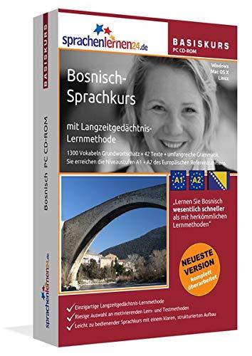 Bosnisch-Basiskurs mit Langzeitgedächtnis-Lernmethode von Sprachenlernen24: Lernstufen A1 + A2. Bosnisch lernen für Anfänger. Sprachkurs PC CD-ROM für Windows 10,8,7,Vista,XP / Linux / Mac OS X