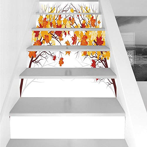 Stair Stickers Wall Stickers,6 PCS Self-adhesive,Fall Decorations,Image of Canadian Maple Leaves in Fall with Soft Reflection Effects,Orange White,Stair Riser Decal for Living Room, Hall, Kids Room De