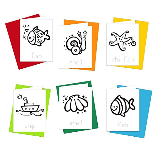 Note Cards - Saltwater Ocean Greeting Cards for Kids to Color, Trace Letters and Practice Writing - Eco-friendly Stationery for Children - 100% Recycled Note Cards with Envelopes - Blank Inside
