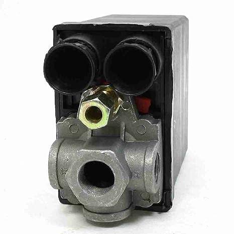 TTcity 175PSI 12bar 4 puertos válvula reguladora Presostato para compresor de aire
