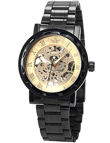 Gold Transparent Watch (AMPM24 Transparent Men's Gold Dial Skeleton Mechanical Gunmetal Steel Analog Army Watch PMW239)