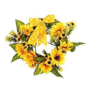 Pannow 12inch Sunflowers Wreath Summer Fall Festival Celebration Front Door Floral Wall Wedding Decor Home Decor for Christmas Thanksgiving 83