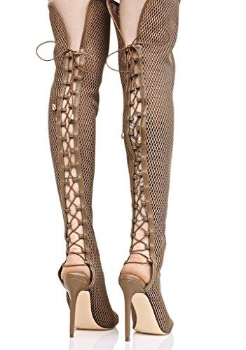 Liliana Femmes Peep Toe Cuisse-haute Maille Avant Corsette Lace Up Stiletto Slay Taupe