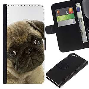All Phone Most Case / Oferta Especial Cáscara Funda de cuero Monedero Cubierta de proteccion Caso / Wallet Case for Apple Iphone 6 // Pug Sad Shy Puppy Guilty Look Dog Small