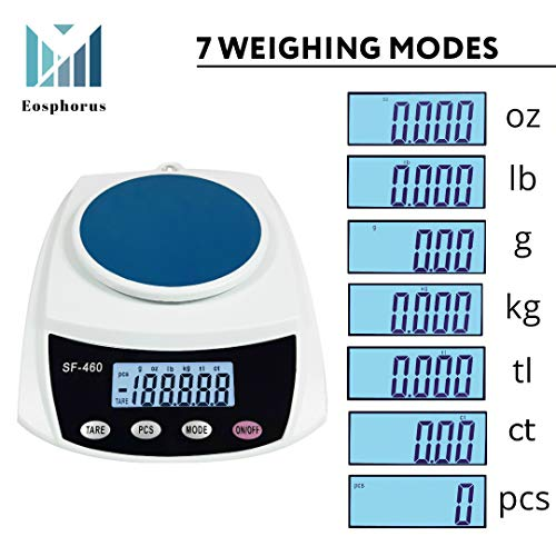 600 g (21 oz) / 0.01 g Digital LCD Scale Analytical Balance for Science Lab Test Precision Accuracy Weighing with USB AC/DC Adapter