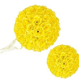 10 Pack Romantic Rose Pomander Flower Balls Rose Bridal for Wedding Bouquets Artificial Flower DIY Yellow 41