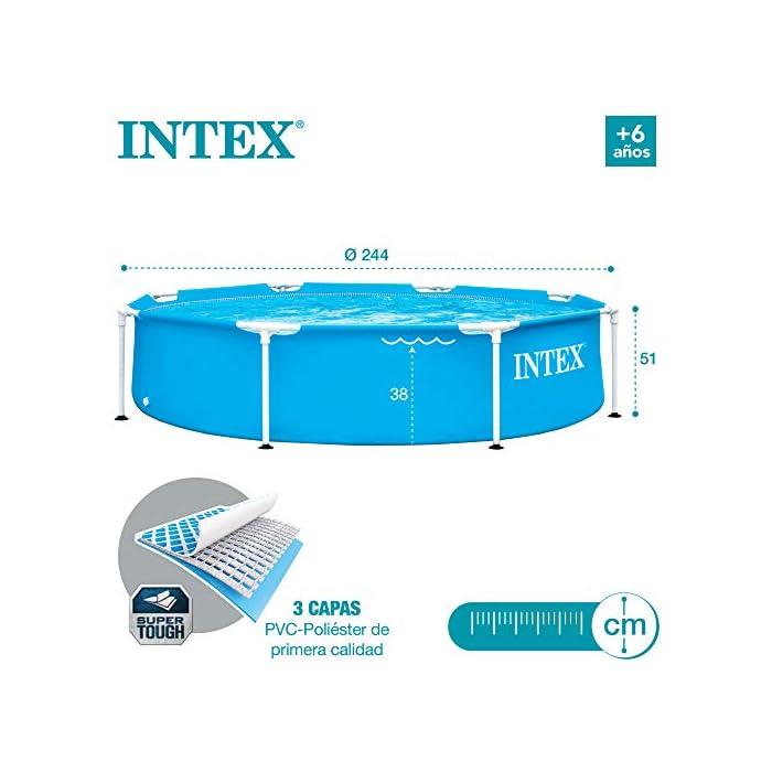 51 D9oJHhrL Piscina tubular redonda INTEX con medidas Ø244 y 51 cm de altura óptimo para que los niños disfruten de un verano refrescante Material: fabricada con estructura de tubos de acero con protección antióxido y lona PVC triple capa Capacidad: piscina con capacidad para 1.828 litros de agua