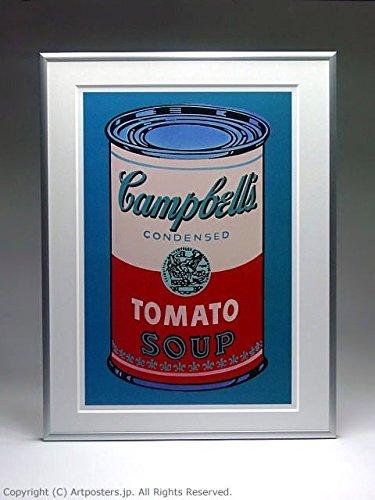 アンディ ウォーホル キャンベルスープ缶 ピンクと赤 額付ポスター シルバー B005LN5B6Y シルバー シルバー