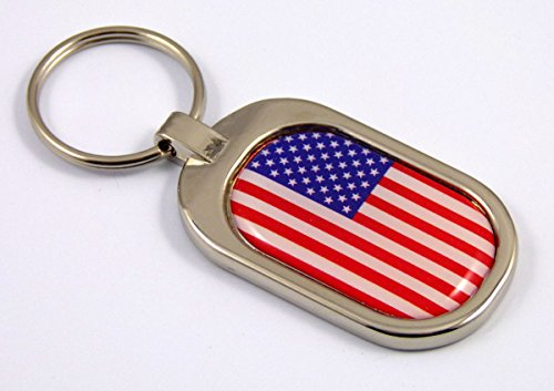 USA Flag Key Chain Metal Chrome Plated Keychain Key fob keyfob America States