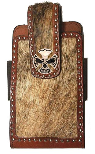Biker Cross & Skull Concho mounted on a Large Brown Leather Phone Case with Hair Inlay (Biker Concho)