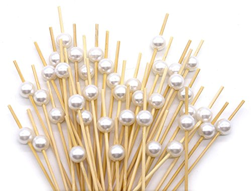 """Cocktail Picks Handmade Bamboo Toothpicks 4.7"""" White Pearl in 100 Counts Cocktail Sticks Toothpicks Party Supplies by VC-HOME"""